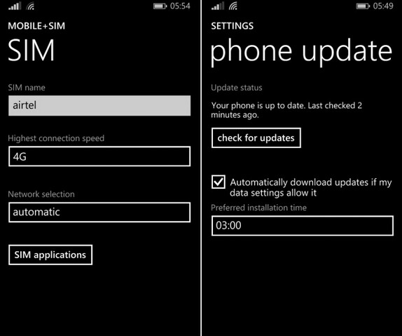 At left, the highest connection speed can be set at 4G in India following the update; on the right, future Windows Phone updates can be scheduled after installing the new build of Windows Phone 8.1 update 1 - Latest Windows Phone 8.1 Developer Preview update brings real time battery percentage tile and more