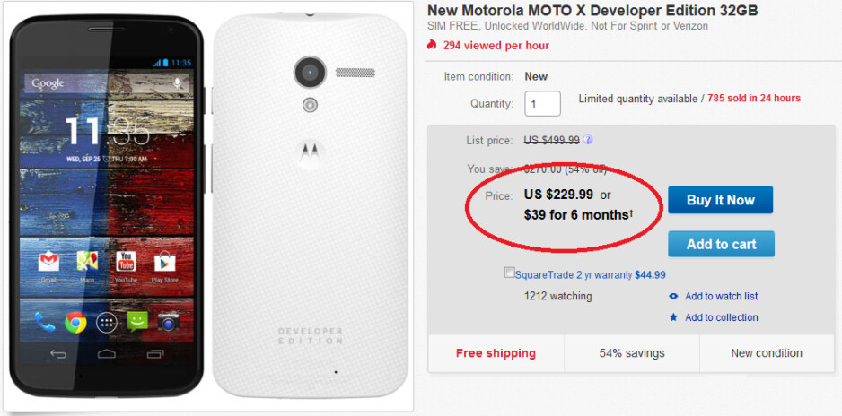 Get the Motorola Moto X Developer Edition at a 54% savings - Last year's Motorola Moto X Developer Edition on sale at eBay for $229.99