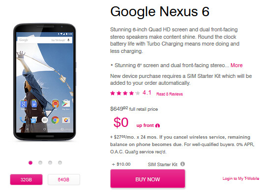 Nexus 6 now available from T-Mobile - Nexus 6 now available at T-Mobile for as low as $27.08 a month