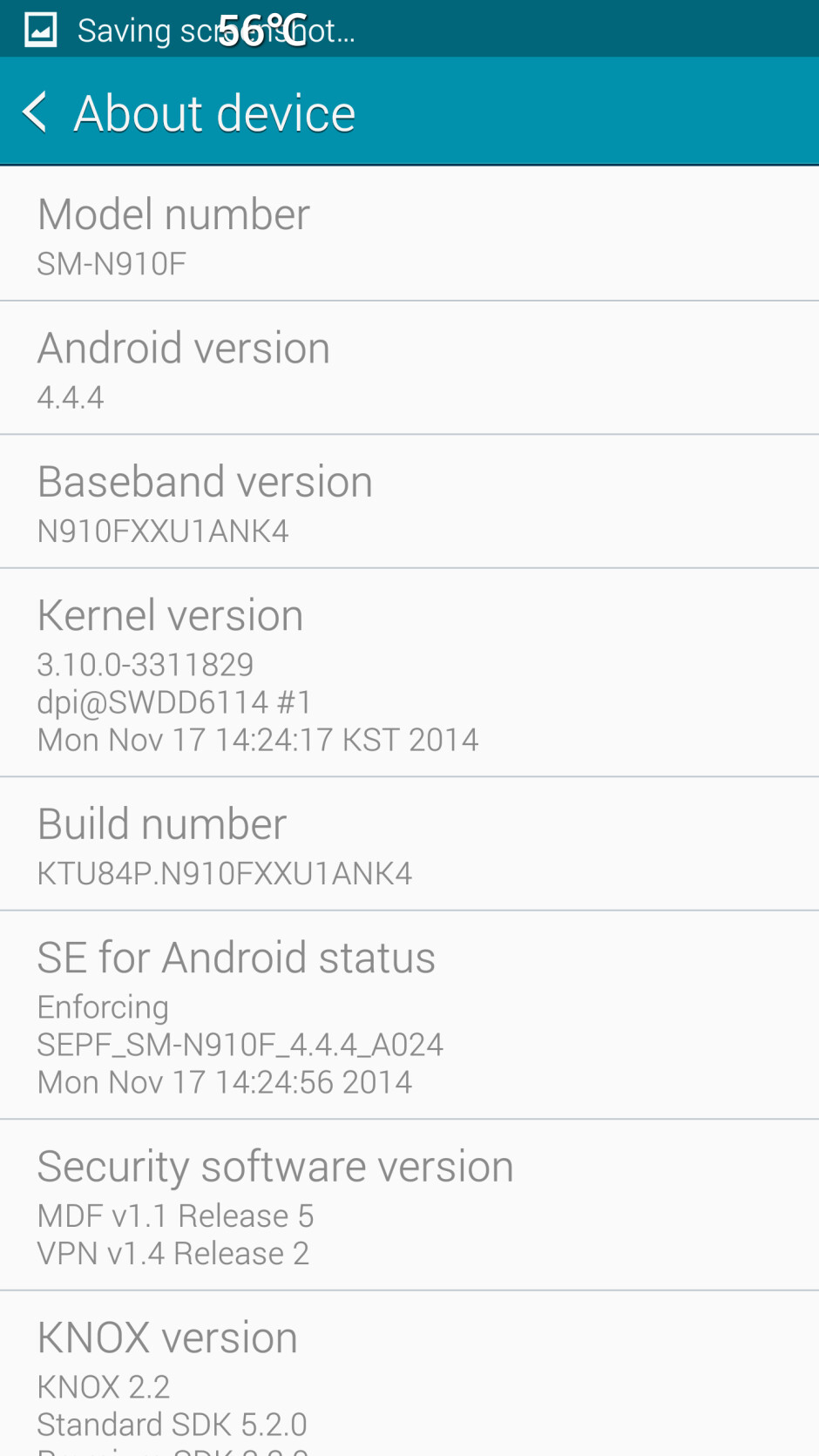 """Screenshot by panosfast from the XDA board - Samsung Galaxy Note 4 owners in Europe receive """"minor"""" 137MB OTA update"""