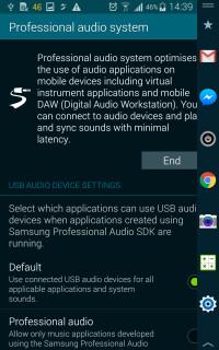 Professional audio driver settings