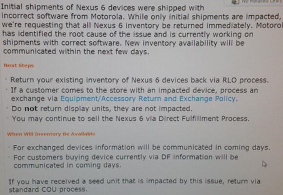 Leaked memo reveals recall of AT&T branded Nexus 6 models - Report: Software mistake by Motorola requires recall of AT&T branded Nexus 6