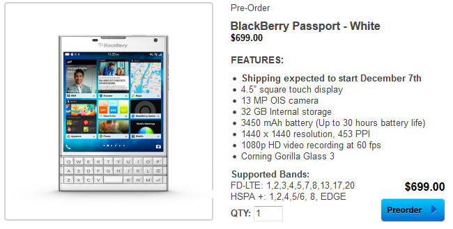 Pre-order the white BlackBerry Passport from BlackBerry with a shipping date of December 7th