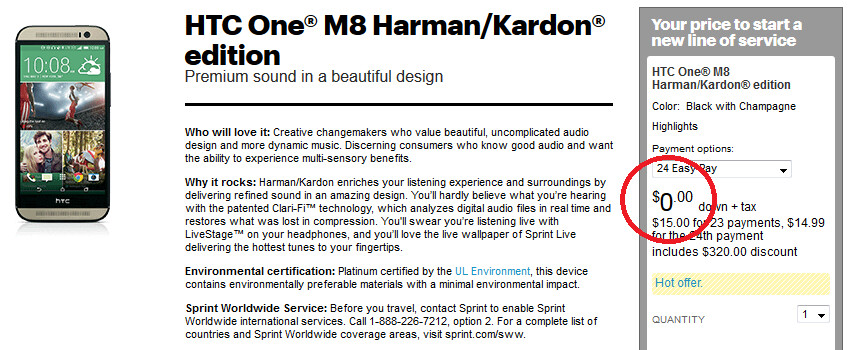 HTC One (M8) Harman/Kardon edition now free on contract for new Sprint subscribers