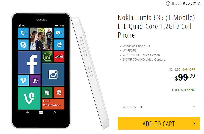 Newegg has the Nokia Lumia 635 on sale - Nokia Lumia 635 just $99 from Newegg through Thursday
