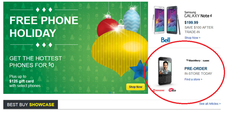 Best Buy Canada's splash page shows in-store pre-orders are being accepted for the BlackBerry Classic - Best Buy Canada is taking in-store pre-orders for the BlackBerry Classic