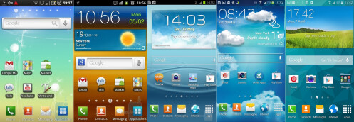 The evolution of TouchWiz, from the Galaxy S (leftmost) to the Galaxy S5 (rightmost)
