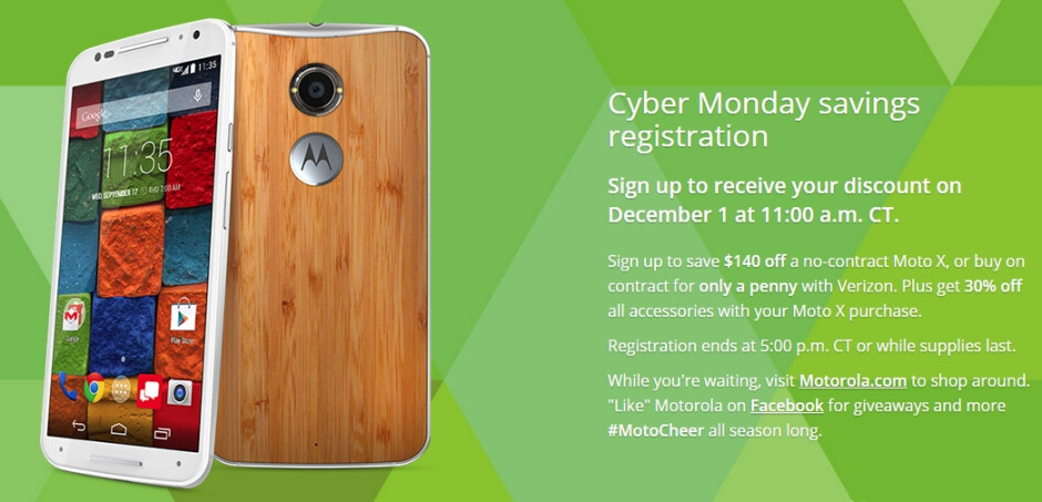 Motorola announces Cyber Monday deals, including Moto X starting at $359