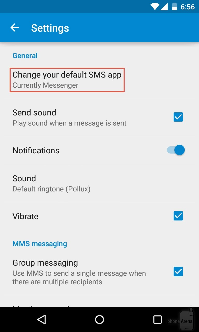 android change default messaging app
