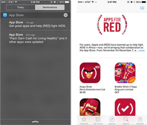 Apple sends out a push notification to promote the Apple App Store (RED) campaign - Apple bends its own rules by using push notification to promote the App Store's (RED) campaign