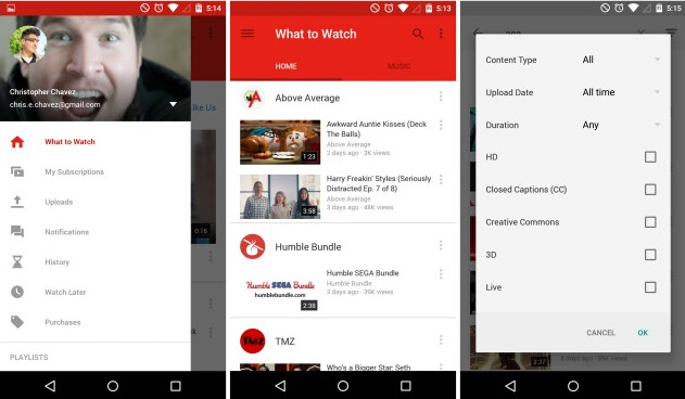 YouTube has been updated to add Material Design - YouTube for Android updated to version 6.0.11 with Material Design