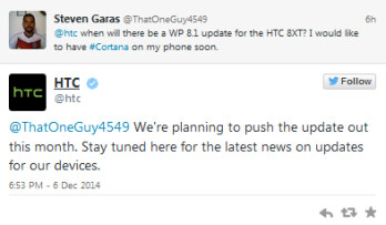 Tweet from HTC reveals plans are on to update the HTC 8XT to Windows Phone 8.1 some time this month