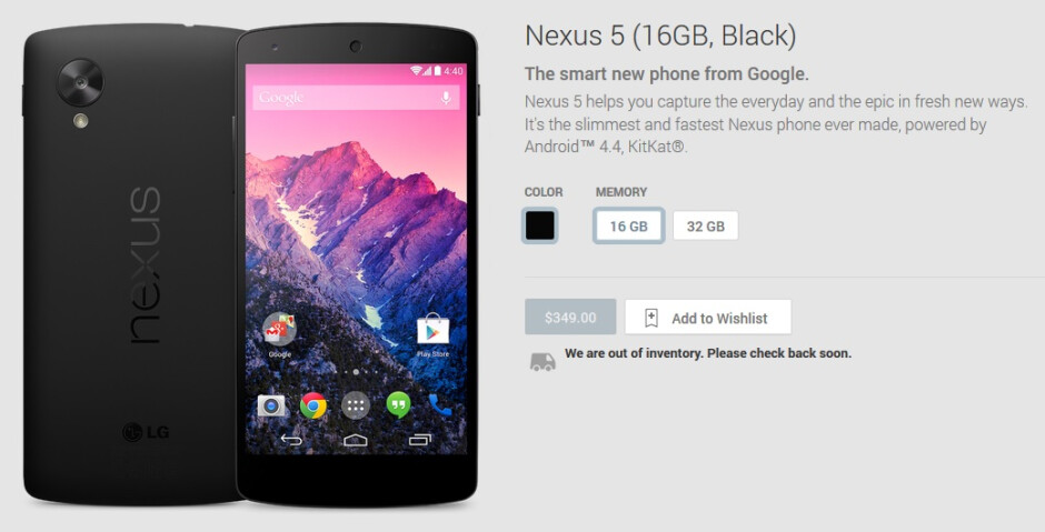Nexus 5 choices pared down to black-only, out of stock in Google Play