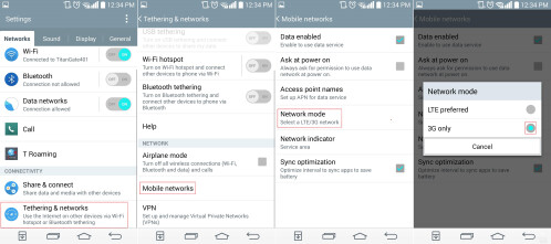 Turn off 4G LTE on the LG G3