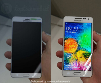 Alleged leak of the Samsung Galaxy S6 (L) turns out to be a photoshopped version of the Samsung Galaxy Alpha