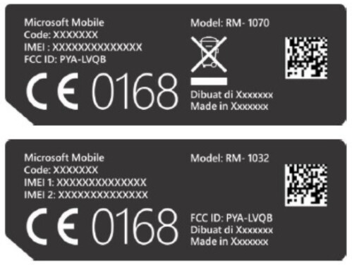FCC label for two variants of the phone