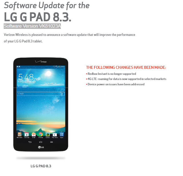 A minor update is available for the Verizon version of the LG G Pad 8.3 - LG G Pad 8.3 for Verizon receives minor update