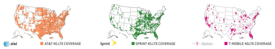 Due to the quick deployment of 4G LTE stations by some carriers, these maps may not represent the most up-to-date actual coverage situation. T-Mobile, in particular, has expanded coverage than what is shown on the map (but this is the latest publicly available map). - 4G LTE / 3G cellular data speed comparison: AT&T vs Verizon Wireless vs Sprint vs T-Mobile