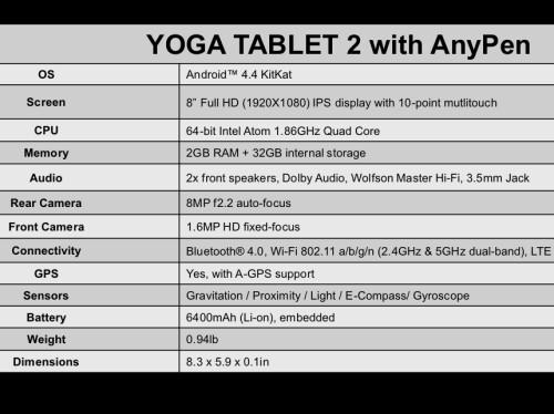 Lenovo Yoga Tablet 2 (8-inch) with AnyPen
