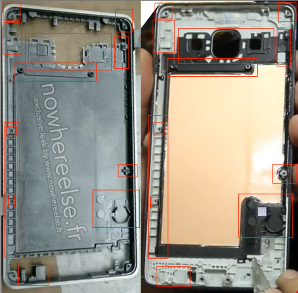Leaked chassis (right) compared with later Galaxy A5 prototype (right) - Samsung Galaxy S6's metal chassis apparently leaked (oops, false alarm)