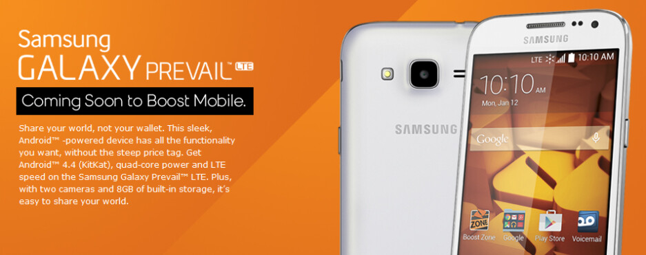 The Samsung Galaxy Prevail LTE is coming to Boost Mobile this month - Samsung Galaxy Prevail LTE comes to Boost Mobile on January 19th with support for Sprint Spark