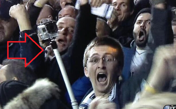 Selfie sticks, like the one employed by this football fan, are being banned by U.K. clubs - Selfie sticks banned in U.K. football stadiums