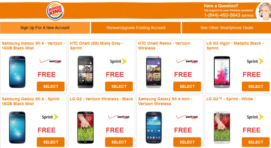 Burger King is running a promotion for subsidized handsets - Burger King offering free subsidized Android phones with two-year contract