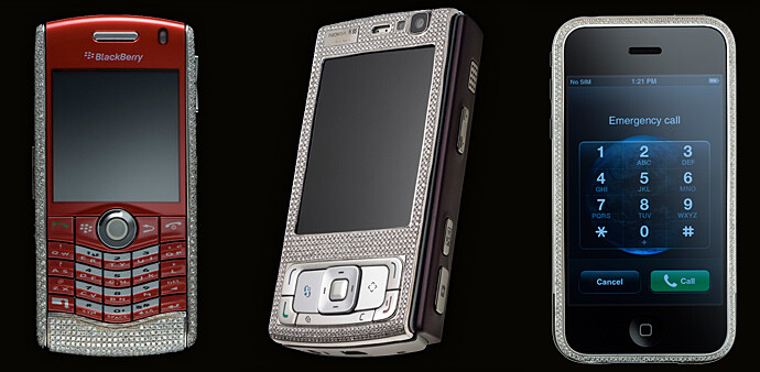 Left to right - BlackBerry Pearl, Nokia N95, iPhone - Guide for the filthy rich