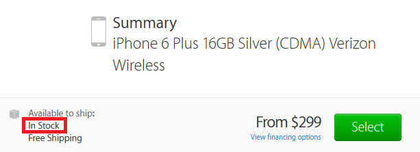Supply and demand is in balance for the new iPhone models - In balance: Apple lists Apple iPhone 6, Apple iPhone 6 Plus as being in stock