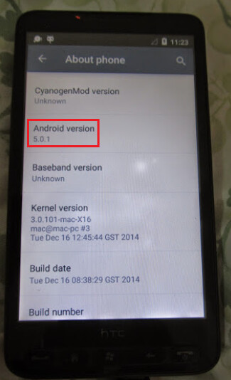 The HTC HD2 ported with Android 5.0.1