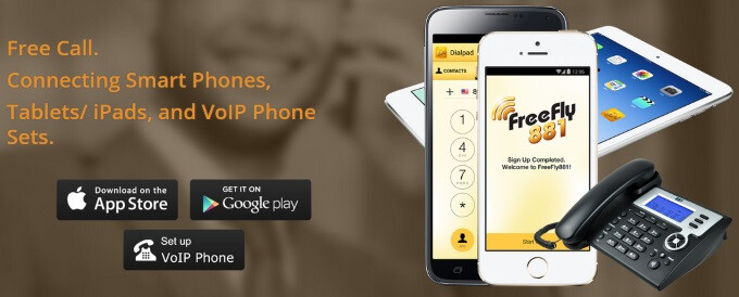 FreeFly881 is a free calls & global phone book app for Android and iOS