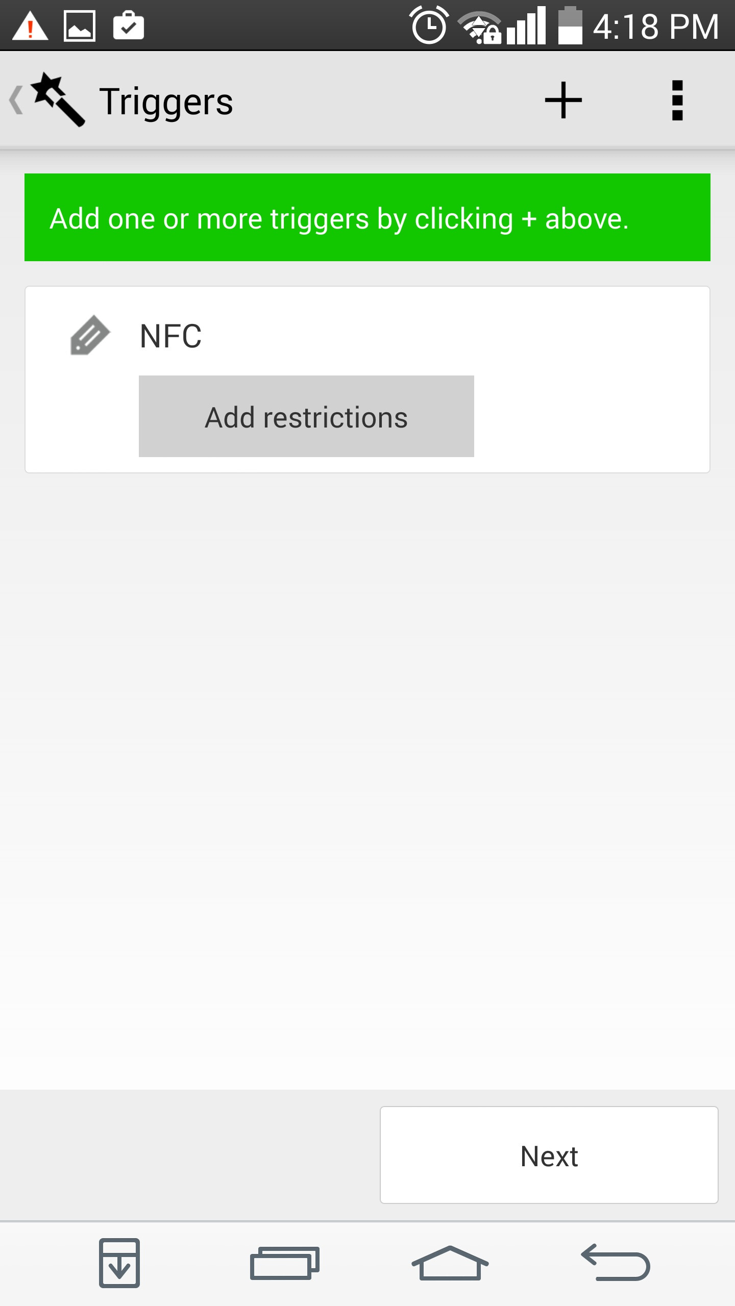 How to use an Android device and NFC tag to turn on a