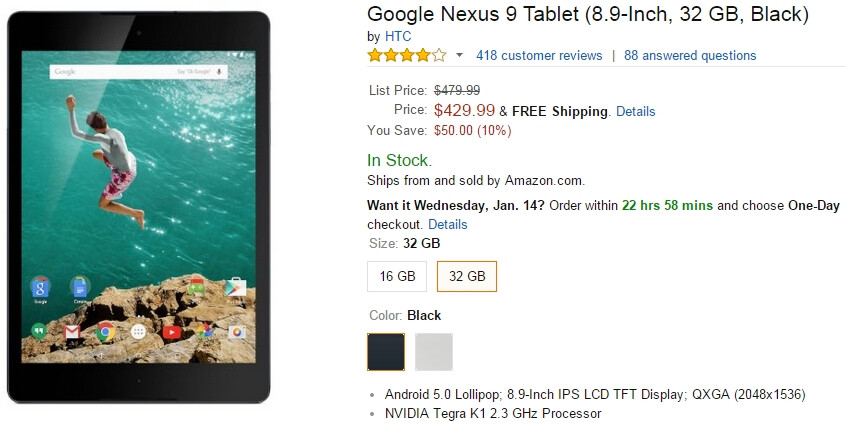 Google Nexus 9 (16 GB and 32 GB) available for $50 off at Amazon