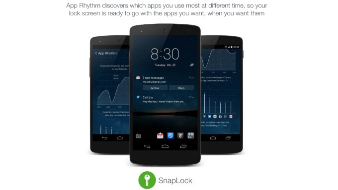 SnapLock Android lock screen 3.0 puts a weather and calendar Dashboard side panel at a glance