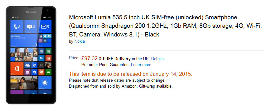 The Microsoft Lumia 535 will be available in the U.K. from Amazon starting tomorrow - Starting tomorrow, Amazon U.K. will sell you the Microsoft Lumia 535 for $147