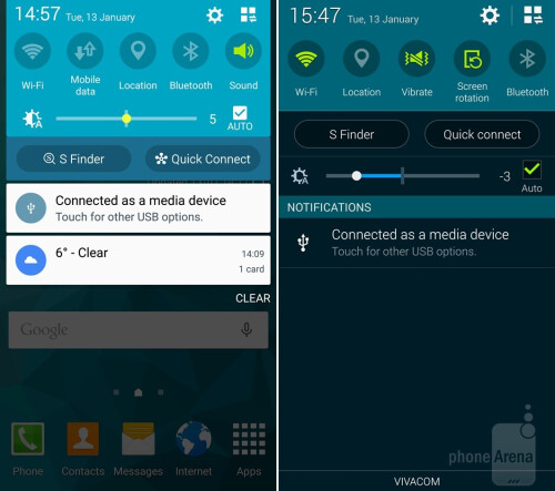 Notification drawer and Quick Setting buttons