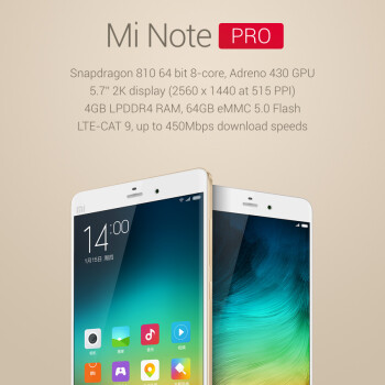 Xiaomi Mi Note Pro phablet announced with Snapdragon 810 and 4 GB of RAM