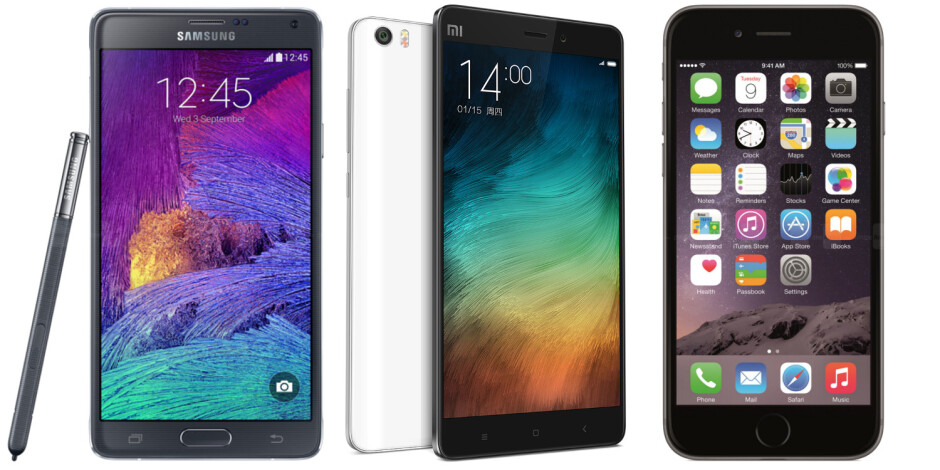 Xiaomi Mi Note Pro vs Samsung Galaxy Note 4 vs Apple iPhone 6 Plus: specs comparison
