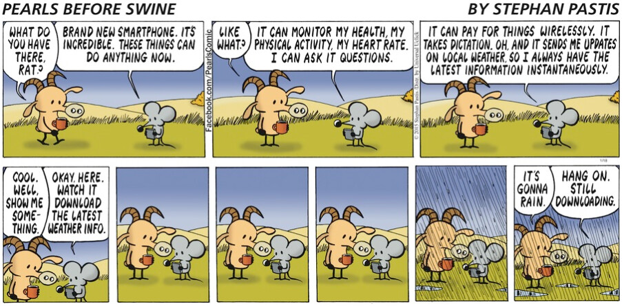 Sunday comic makes fun of smartphones and weather apps - Sunday comic strip makes fun of smartphones and weather apps