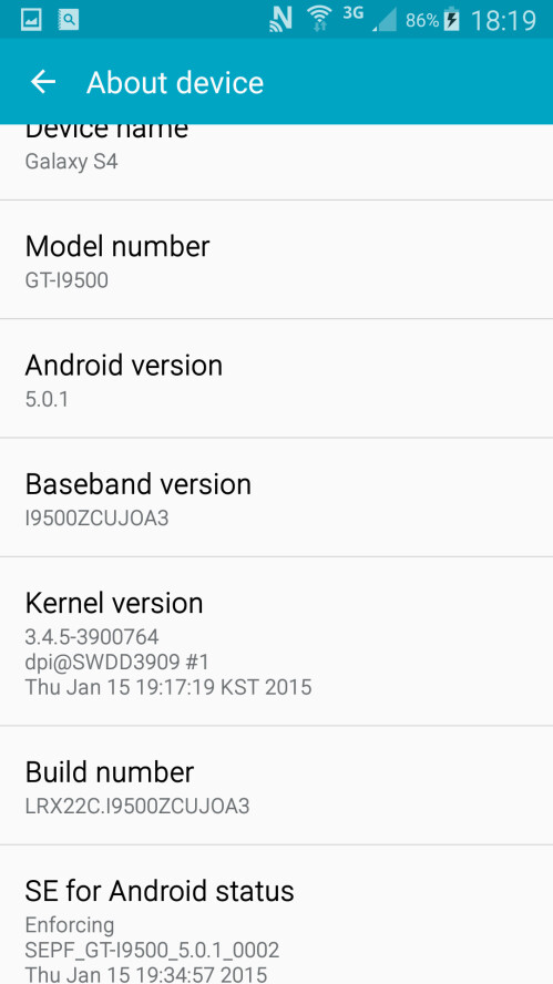 Samsung Galaxy S4 GT-I9505 running on the leaked firmware