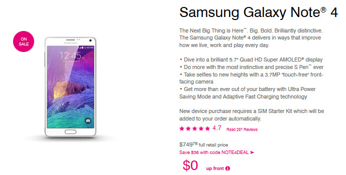 Save $36 on the Samsung Galaxy Note 4 if you order online from T-Mobile before midnight Pacific Time - T-Mobile offers Samsung Galaxy Note 4 online with a $36 discount until midnight PST