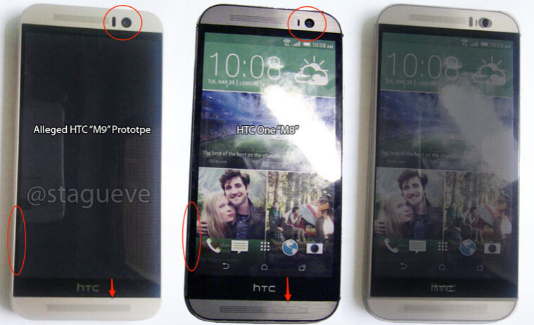 Alleged HTC One (M9) at left with the HTC One (M8) in the middle and a combined overlay of the two models at right - HTC One (M9) pictured next to HTC One (M8); changes seen between the two models