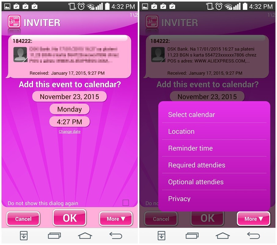 How to make Android automatically create calendar events from your incoming SMS messages