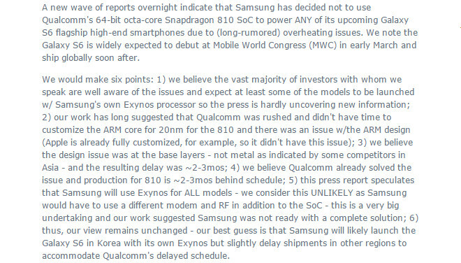 Timothy Arcuri, Cowen - Analysts say Samsung can't ditch Snapdragon so fast
