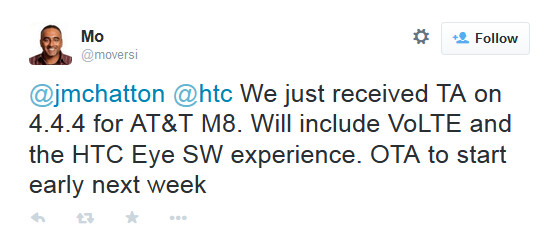 AT&T's HTC One (M8) will receive its Android 4.4.4 update early next week - Eye Experience coming to AT&T's HTC One (M8) early next week with Android 4.4.4 and VoLTE