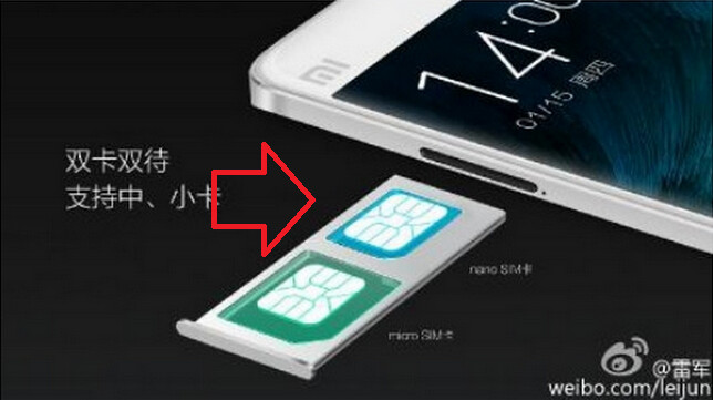 Dual SIM slot on Xiaomi Mi Note accepts both micro and nano SIM cards - Xiaomi planning a marketing assault on Apple iPhone users?