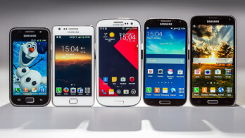 The Samsung Galaxy S family. From left to right – Galaxy S, Galaxy SII, Galaxy SIII, Galaxy S4, and Galaxy S5.