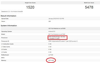 The Exynos 7420 is benchmarked on Geekbench