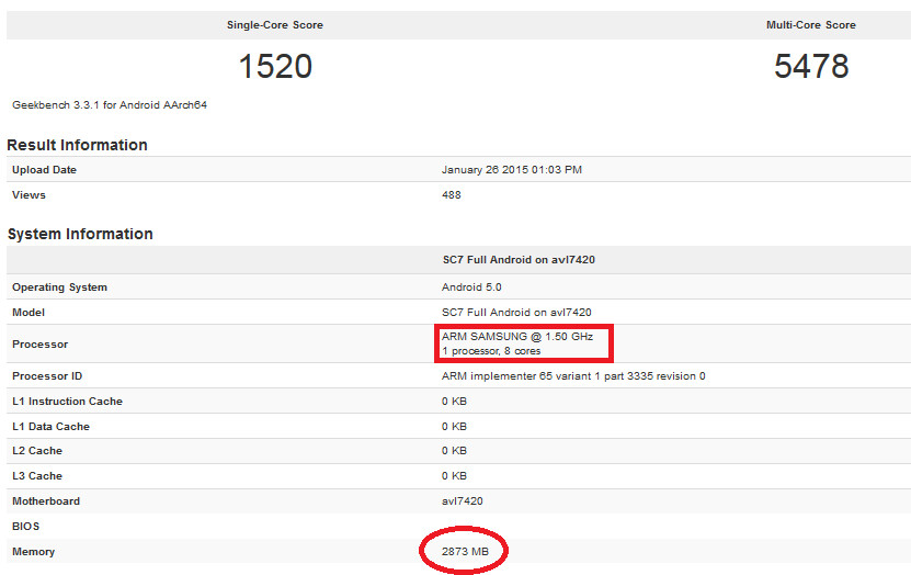 The Exynos 7420 is benchmarked on Geekbench - Exynos 7420 gets benchmarked