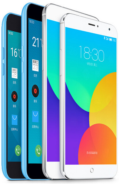 Meizu's lineup, the Blue Charm on the right - Meizu Blue Charm unveiled: the best affordable Android phone you've never heard of